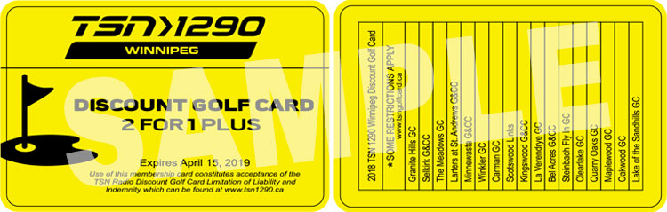 2018 TSN 1290 Winnipeg Discount Golf Card
